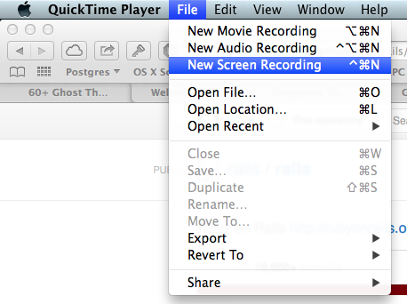 QuickTime: New Screen Recording